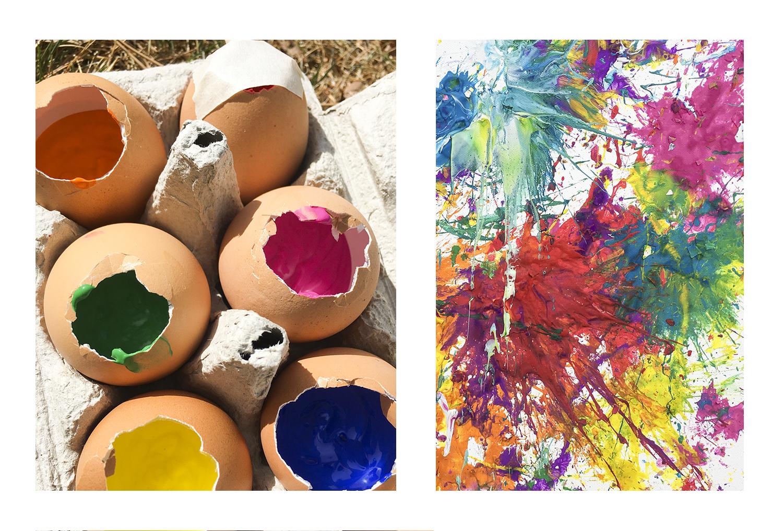 Peinture au lancer d'oeufs: Projet de Pâques