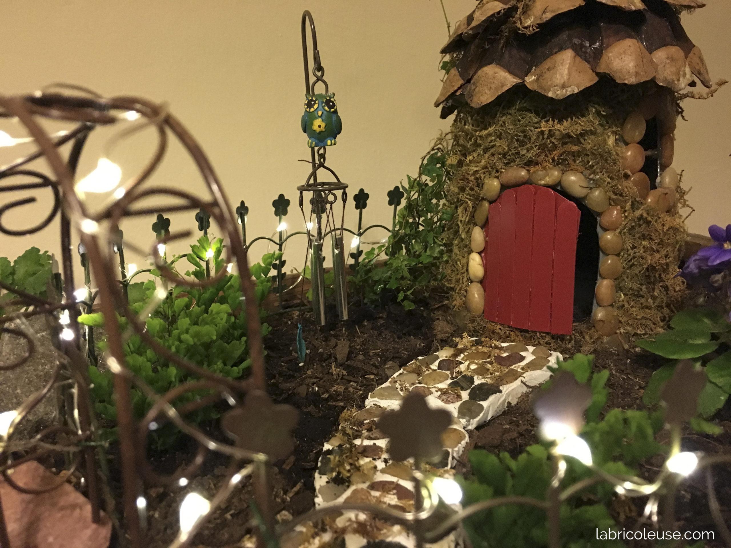 Jardin miniature, avec lumière de fée.