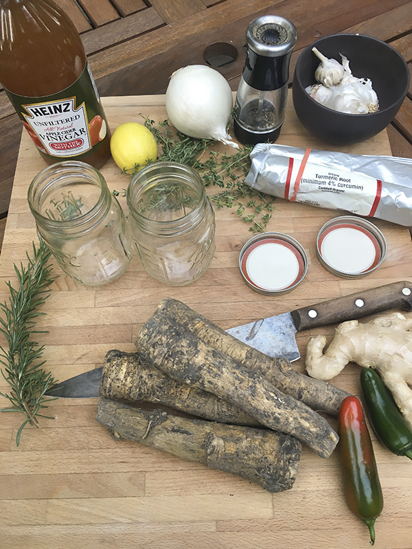 Ingrédients pour le cidre de feu.