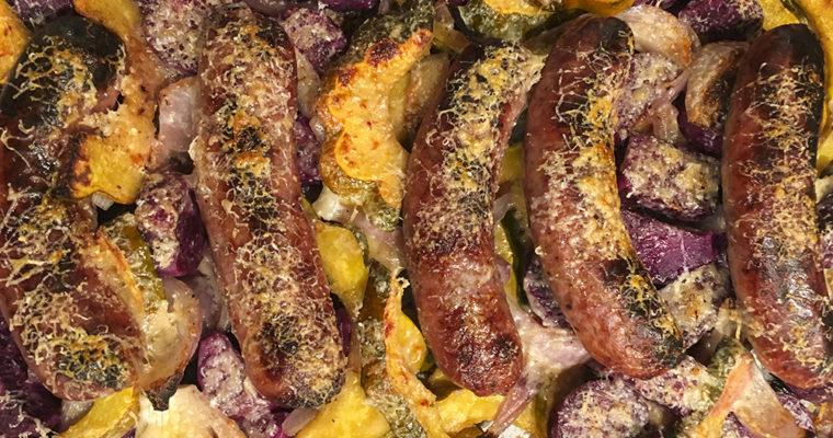 Saucisses aux Patates Douces Violettes et Courgerons