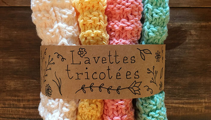 Lavettes en coton tricotées